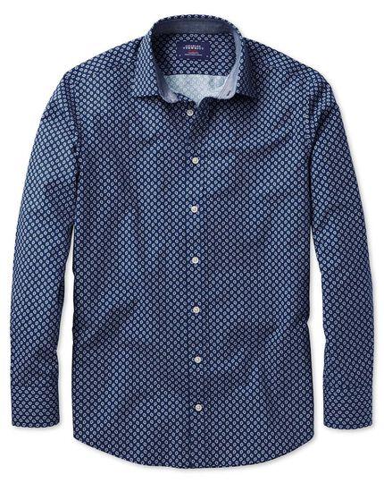 Chemise bleue et blanche à imprimé géométrique slim fit
