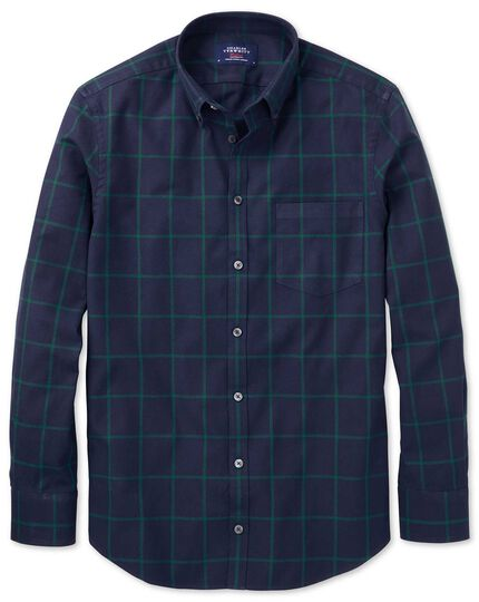 Extra slim fit button-down washed Oxford navy blue and green check shirt