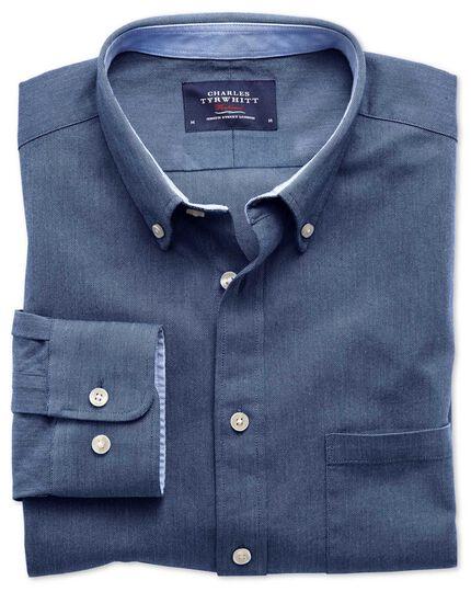 Chemise bleue en oxford délavé coupe droite