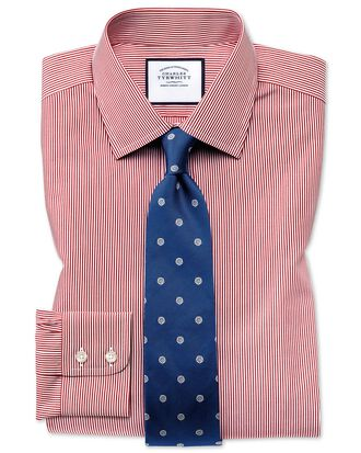 Slim fit non-iron Bengal stripe red shirt
