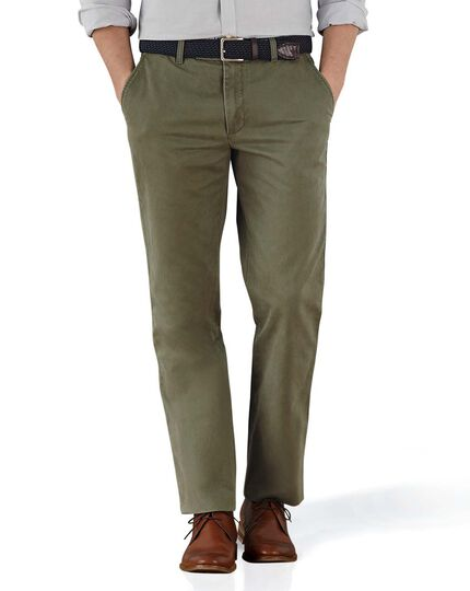 Olive slim fit flat front chinos