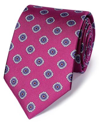 Bright pink silk printed classic tie