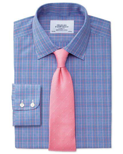 Bügelfreies Classic Fit Hemd in Blau und Rosa mit Prince- of-Wales-Karos