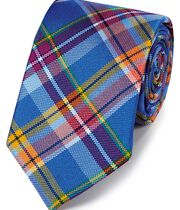 Royal blue multi silk Jermyn street design English luxury tie