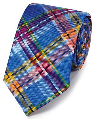Royal blue multi silk Jermyn street design English luxury tie