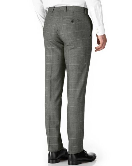 Grey check slim fit twill business suit pants