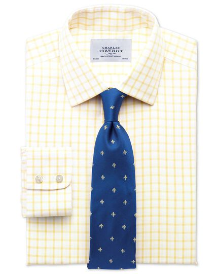 Slim fit non-iron twill grid check light yellow shirt