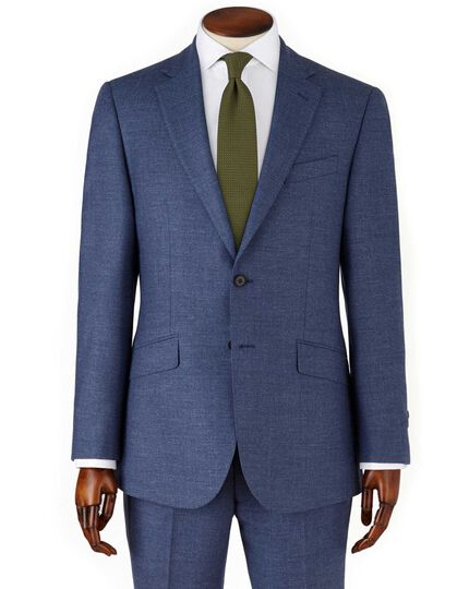 Airforce blue slim fit flannel business suit jacket