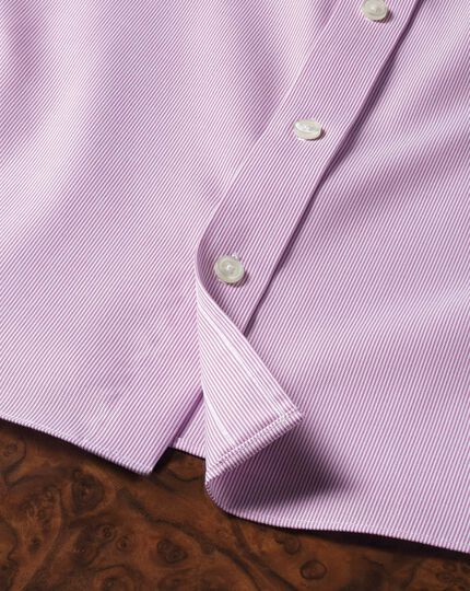 Slim fit non-iron short sleeve pinpoint stripe pink shirt