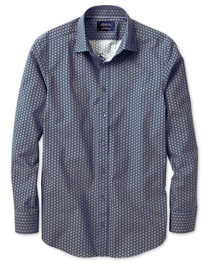 Slim fit blue and green hexagon print shirt