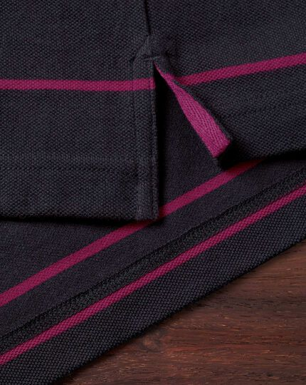 Navy and berry stripe pique polo