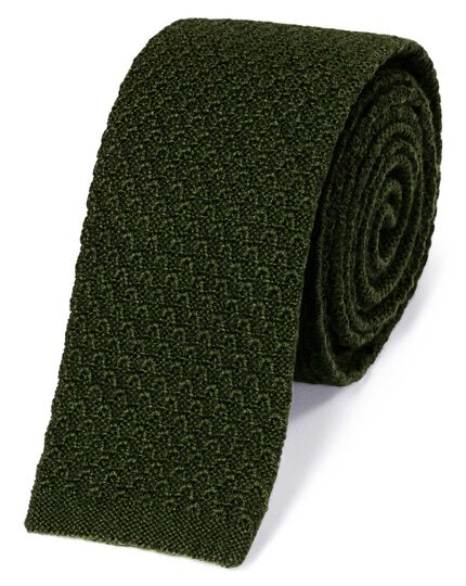 Forest green wool slim knitted classic tie