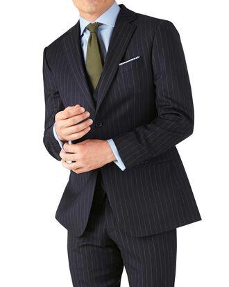 Veste de costume business bleu marine en twill slim fit à rayures