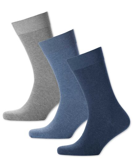 Blue multi cotton rich 3 pack socks