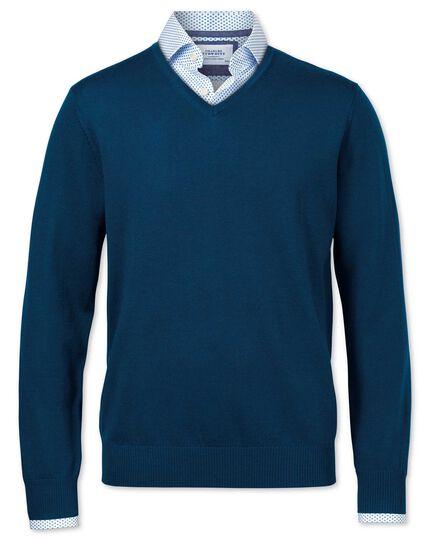Blue merino wool v-neck sweater