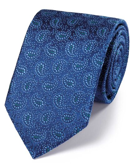 Blue and sky silk vintage paisley luxury tie