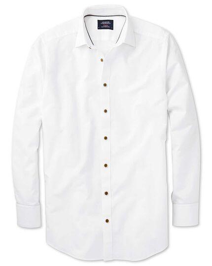 Classic Fit Hemd aus Dobbygewebe in Weiß mit strukturierten Punkten