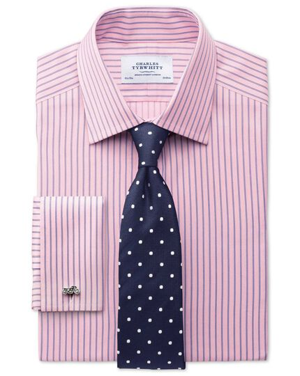 Classic fit Egyptian cotton textured stripe pink shirt
