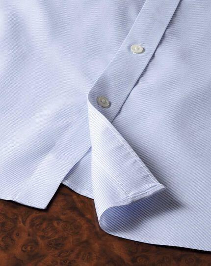 Chemise de luxe à rayures bleu ciel sans repassage slim fit avec col semi cutaway