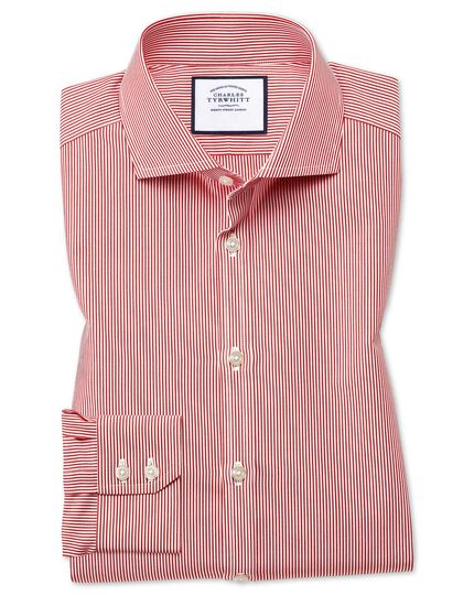 Extra slim fit cutaway collar non-iron bengal stripe red shirt
