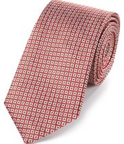 Coral and white silk square lattice classic tie