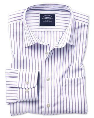 Chemise blanche et lilas en oxford slim fit à rayures sans repassage