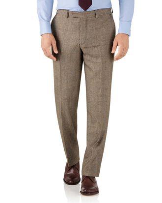 Pantalon de costume de luxe brun clair coupe droite en sergé britannique