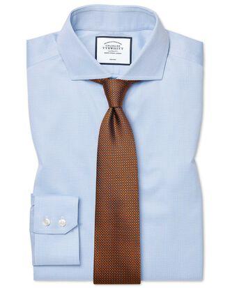 Slim fit spread collar non-iron puppytooth sky blue shirt