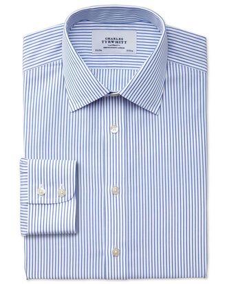 Bügelfreies Slim Fit Hemd in Weiß und Blau mit Streifen