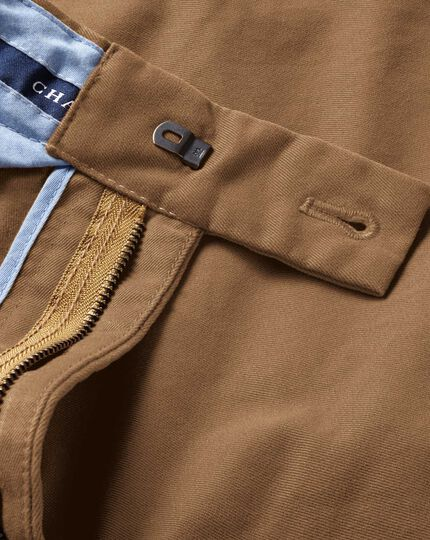 Camel classic fit flat front chinos