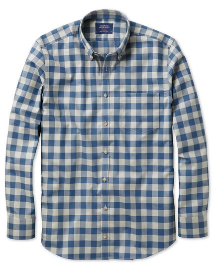 Slim fit button-down non-iron twill blue and grey check shirt