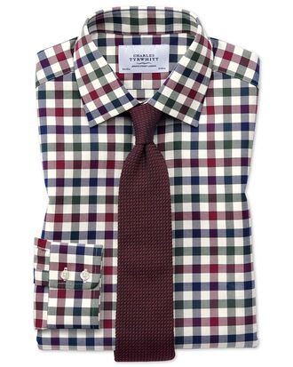 Slim fit country check navy blue and berry shirt