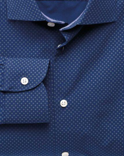 Classic fit semi-cutaway collar business casual printed blue shirt