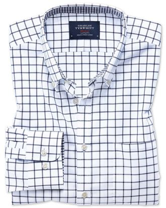Bügelfreies Classic Fit Oxfordhemd in Marineblau mit Windowpane-Karo