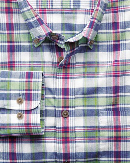 Chemise rose et verte en popeline coupe droite à carreaux