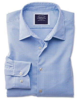Classic fit washed blue textured check shirt