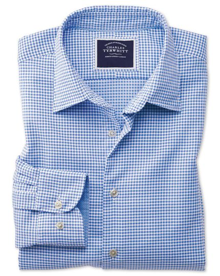 Slim Fit Hemd aus Strukturgewebe in Blau
