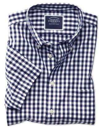 Bügelfreies Classic Fit Kurzarmhemd aus Popeline in Marineblau mit Gingham-Karos