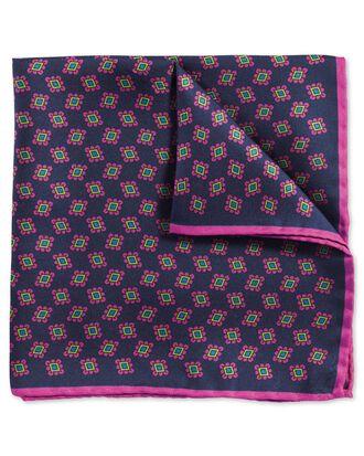Pochette de costume de luxe bleu marine et rose en tissu anglais avec imprimé géométrique