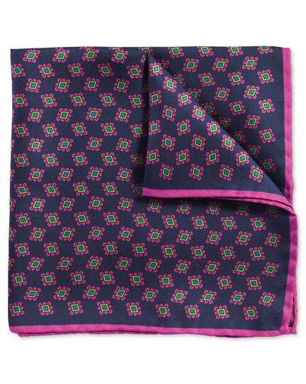 Luxuriöses englisches Einstecktuch in Marineblau und Rosa mit geometrischem Print