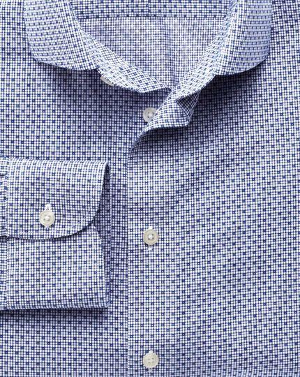 Slim fit semi-cutaway collar non-iron business casual grid check blue shirt