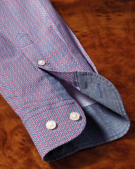 Slim fit magenta and blue print shirt