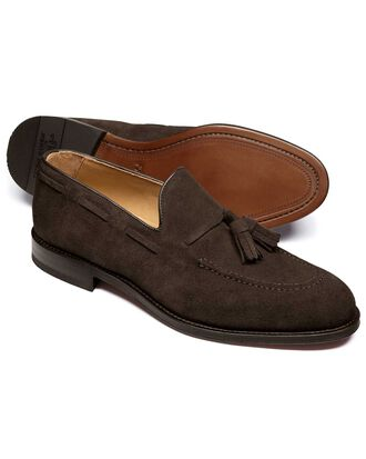 Keybridge Quasten Loafer aus Veloursleder in Braun