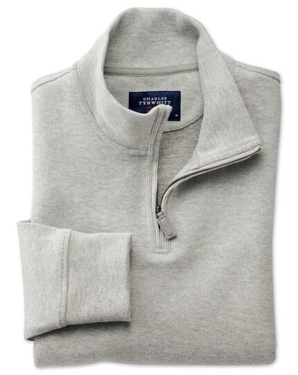 Light grey half zip jersey jumper
