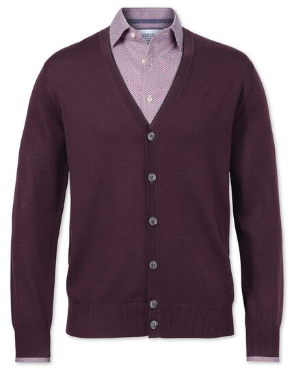 Wine merino wool cardigan