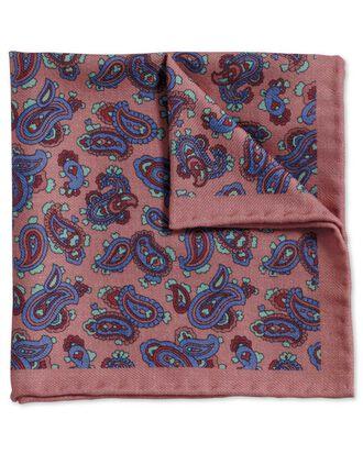 Klassisches Einstecktuch aus Wolle in Rosa und Königsblau mit Paisley Muster
