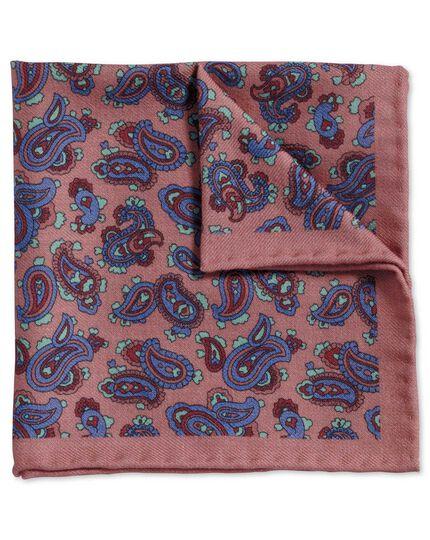 Pink and royal classic printed wool paisley pocket square