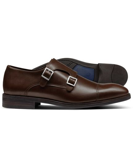 Brown Silverwell toe cap monk shoes