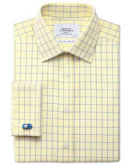 Slim fit non-iron check yellow shirt