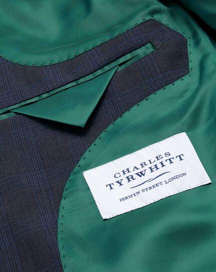 Blue check slim fit flannel business suit jacket